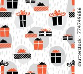 gift boxes seamless pattern... | Shutterstock .eps vector #774749686