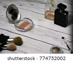 powder and cosmetic accessories ... | Shutterstock . vector #774752002