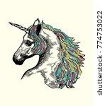 unicorn .feminine style print... | Shutterstock .eps vector #774753022