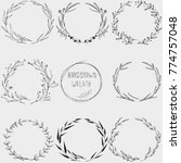 hand drawn floral wreath....   Shutterstock .eps vector #774757048