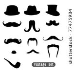 vintage set  with mustaches ...