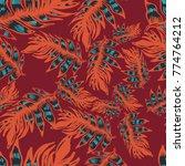 seamless vector pattern design. ... | Shutterstock .eps vector #774764212