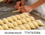 producing classic croissants at ... | Shutterstock . vector #774765586