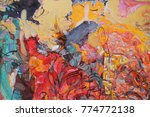 """Small photo of sale original - contact facebook,looking for partnerships with artdillers artist, Roman Nogin, """"BEVY"""" series, abstract painting,woman figure abstract. girls in a cafe"""