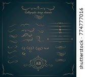 vintage set of calligraphic... | Shutterstock .eps vector #774777016