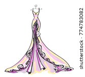 wedding dress design  pink  on... | Shutterstock . vector #774783082