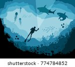divers and sharks  reef... | Shutterstock .eps vector #774784852