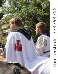 Small photo of During the festivities in Alcala de la Selva village there are multiple acts, such as street dances in pilgrimage and old rituals to the Virgin on September 8, 2017. Teruel Spain
