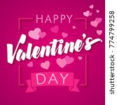 happy valentines day pink heart ... | Shutterstock .eps vector #774799258