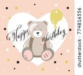 happy birthday card or poster...   Shutterstock .eps vector #774816556