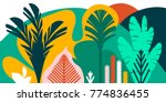trees are broad leaved tropical ... | Shutterstock .eps vector #774836455
