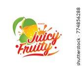 fresh mango juicy fruity sign...   Shutterstock .eps vector #774856288