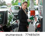 woman holding gas nozzle in gas ... | Shutterstock . vector #77485654