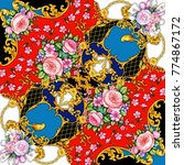 surface design of kerchief with ...   Shutterstock . vector #774867172