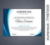 certificate template in vector... | Shutterstock .eps vector #774873535