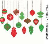Christmas Ornaments,Christmas Balls Decorations, Christmas Hanging Decoration Collection.Vector illustration.