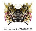 grunge butterfly splashes with...   Shutterstock .eps vector #774902128