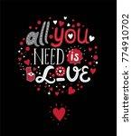 hand drawn lettering love decor ... | Shutterstock .eps vector #774910702