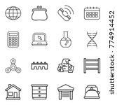 thin line icon set   globe ...