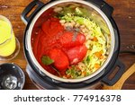 minestrone soup made in instant ... | Shutterstock . vector #774916378