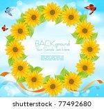 vector wreath of sunflowers... | Shutterstock .eps vector #77492680