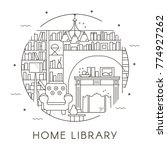 home library design in thin... | Shutterstock .eps vector #774927262