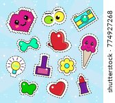 set of cute stickers  badges ... | Shutterstock .eps vector #774927268
