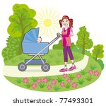 Young happy mother with a baby in a pram on a walk in a public garden - stock vector