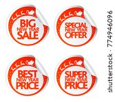 big new year sale stickers with ... | Shutterstock .eps vector #774946096