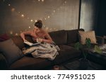 young woman reading book and... | Shutterstock . vector #774951025
