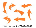set of hand drawn orange arrow | Shutterstock .eps vector #774962842
