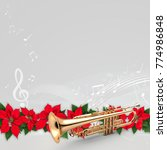 Trumpet With Musical Notes And...
