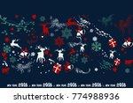 happy new year. deer  gifts ... | Shutterstock .eps vector #774988936