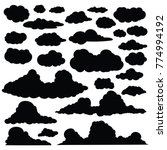set of funny cartoon clouds...