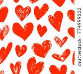 seamless red pattern with heart ... | Shutterstock .eps vector #774999322