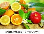 Fresh fruits on table. - stock photo