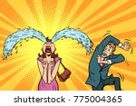 whimsical weeping woman and... | Shutterstock .eps vector #775004365