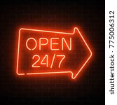 neon open 24 hours 7 days a... | Shutterstock .eps vector #775006312