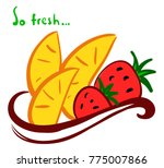 orange slices and strawberries... | Shutterstock .eps vector #775007866