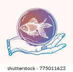 traditional tattoo flash hand... | Shutterstock .eps vector #775011622