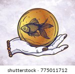 traditional tattoo flash hand... | Shutterstock .eps vector #775011712
