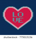 knitted heart. vector seamless... | Shutterstock .eps vector #775015156