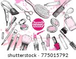 beauty store with make up... | Shutterstock .eps vector #775015792