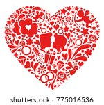 valentines day symbols into the ... | Shutterstock .eps vector #775016536
