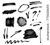 vector set of hand drawn brush... | Shutterstock .eps vector #775020655