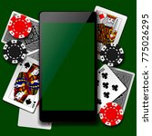 modern phone on playing cards... | Shutterstock . vector #775026295