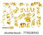 set of gold streamers on white. ... | Shutterstock .eps vector #775028542