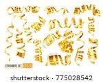 set of gold streamers on white. ... | Shutterstock .eps vector #775028542