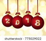 happy new year 2018 design.... | Shutterstock .eps vector #775029022
