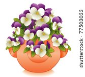 vector - Johnny Jump Ups in Clay Strawberry Jar. Spring garden of lavender & white Pansies growing from the top and sides of terracotta pot. EPS8 organized in groups for easy editing.